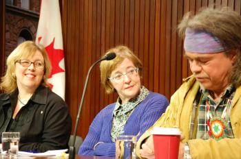 Green Party leader Elizabeth May, Maude Barlow, national chairperson of the Council of Canadians and senior adviser on water to the President of the UN General Assembly, and environmental activist Danny Beaton from the Mohawk Nation, speak at a press conf (Douglas Glynn)