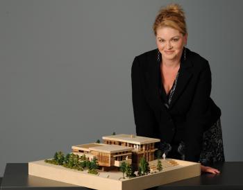Samantha Sannella from Design Exchange with her creation.  (Salvatore Sacco)