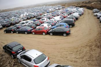 Vehicles are parked on a warehouse in Aranjuez on December 4, 2008. Spain's auto sector, the third biggest in Europe, has been badly hit by the economic slowdown, and many automakers in the country have announced staff cutbacks. (Pedro Armestre/AFP/Getty Images/)