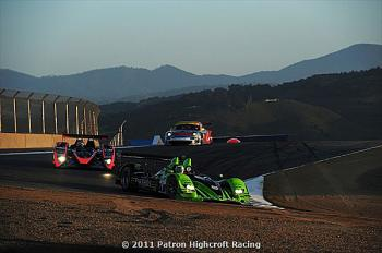 Marino Franchitti in the Patr&#233n Highcroft Racing HPD ARX-01c leads Mitch Pagery in the Intersport Oreca and Patrick Long in the Flying Lizard Porsche as the sun sets over Mazda Laguna Seca Raceway. (Patr&#243n Highcroft Racing)