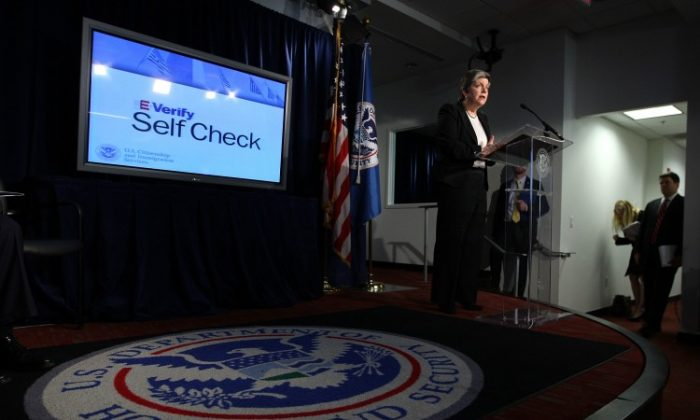 U.S. Secretary of Homeland Security Janet Napolitano speaks during a news conference to announce the launch of E-Verify Self Check service March 21 in Washington. The service will allow individuals in the United States to check their employment eligibility status before formally seeking employment. (Alex Wong/Getty Images)