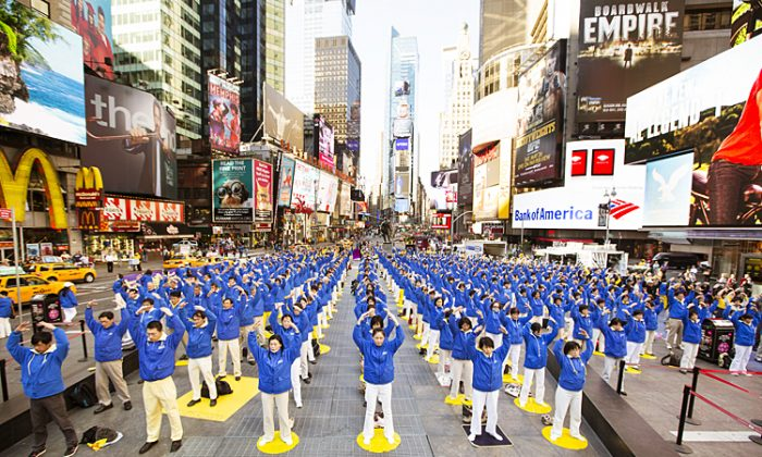 Han Couture fashion show at Times Square during the  World Falun Dafa Day 20th anniversary festivities in Times Square, New York, on May 12, 2012.  (Benjamin Chasteen/The Epoch Times)