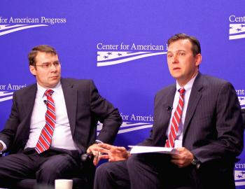 DEBATING: Two security experts with broad knowledge of the Middle East theater debated the U.S. counterinsurgency efforts in Afghanistan at the Center for American Progress (CAP), April 19. John Nagl (l), president from the Center for a New American Security, and Brian Katulis (r), senior fellow at the CAP, agree progress has been made over the last 18 months, but sustaining these gains will be a challenge. (Gary Feuerberg/ Epoch Times)