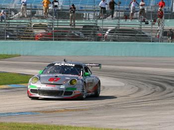 The Farnsbacher Loles Porsche will start fifth, and can finish fifth and still win the title. (James Fish/The Epoch Times)