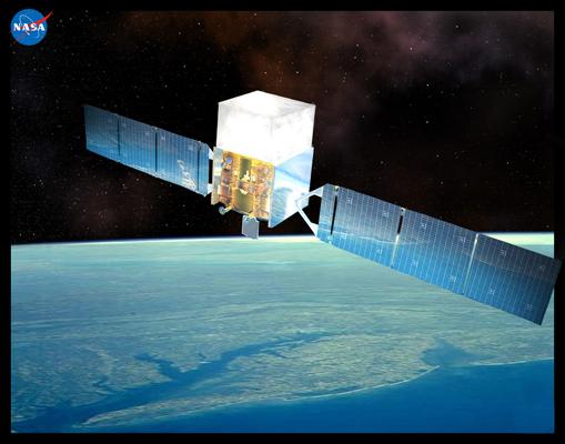An artist's drawing shows the Fermi satellite orbiting Earth. (NASA E/PO, Sonoma State University, Aurore Simonnet)