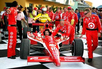 Dario Franchitti and the Target Chip Ganassi Racing team arrive in Gatorade Victory Lane after winning the IndyCar Series Championship at  the IRL IndyCar Series Firestone Indy 300. (Darrell Ingham/Getty Images)