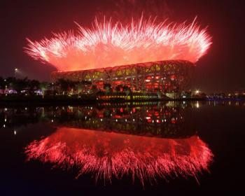 Fireworks explode over the National Stadium during the Opening Ceremony for the Beijing 2008 Olympic Games at the National Stadium on August 8 in Beijing, China.  (Clive Rose/Getty Images)