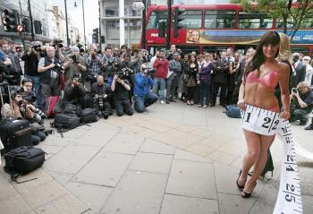 The start of Ultimo's Bra Fit Clinic outside Debenhams department store, central London on April 28. The clinic aims at highlighting the importance of correctly fitting bras. (Shuan Curry/AFP/Getty Images)