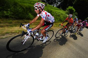 (L-R) France's Jerome Pineau, leads Ruben Perez, Samuel Dumoulin, Christian Knees and Danilo Hondo ride in a breakaway during Stage Seven of the 2010 Tour de France. (Lionel Bonaventure/AFP/Getty Images)