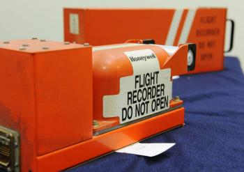 The cockpit voice and flight data recorders from the Northwest Airlines Flight 188 which overflew its destination by 150 miles. (Jonathan Ernst/Getty Images)
