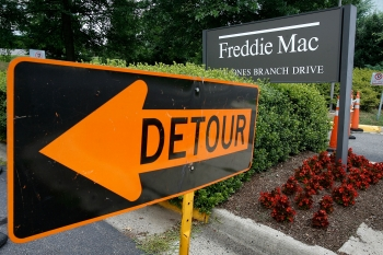 A Freddie Mac sign sits in front of its headquarters July 10, 2008 in McClean, Virginia. A run on IndyMac last week prompted a last minute move by the U.S. Dept. of the Treasury to intervene and place it under the control of FDIC. (Chip Somodevilla/Getty Images)