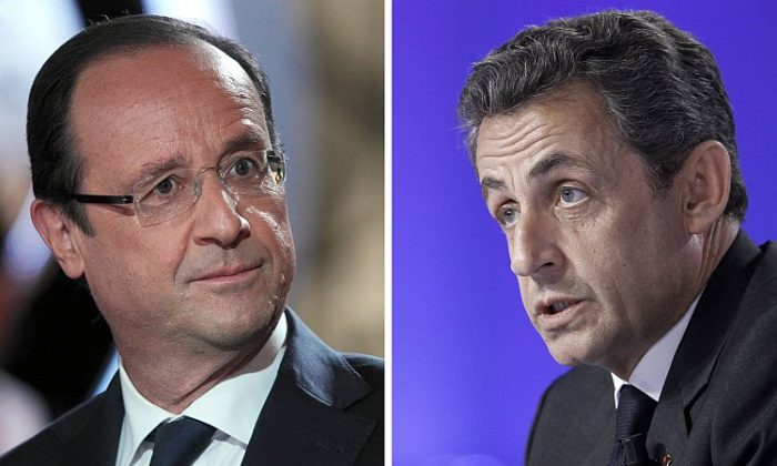 French Socialist Party candidate Francois Hollande (L) and incumbent President Nicolas Sarkozy will face off in France's first round of presidential elections on Sunday. (Kenzo Tribouillard/AFP/Getty Images)