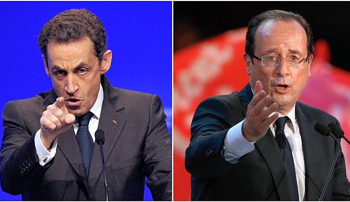 France's incumbent president Nicolas Sarkozy (L) and France's socialist party (PS) candidate François Hollande (R). (Thierry Zoccolan/AFP/GettyImages)