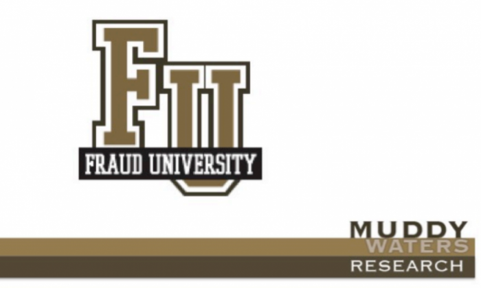 "A mock logo created by Muddy Waters of a ""fraud school"" that operated in China, teaching businessmen how to separate U.S. investors from their money. (Muddy Waters LLC)"
