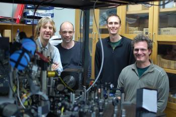 (L-R)Matt McGovern, Dr Mikkel Andersen, Dr Andrew Hilliard and Dr Zahi Grunsweig. (Courtesy of Otago University Dept. of Physics)