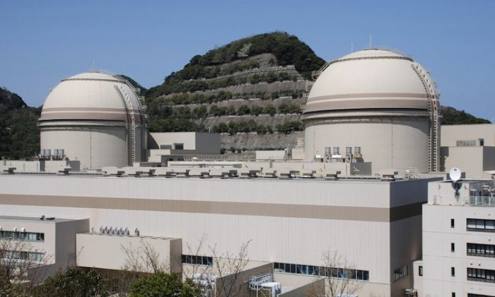 The third (R) and fourth reactor buildings of the Oi nuclear power plant of the Kansai Electric Power Co (KEPCO) on April 12, at Oi town in Fukui prefecture, western Japan. (Jiji Press/AFP/Getty Images)
