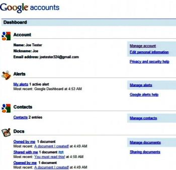 Screenshot of the Google Dashboard, a new service to provide a list of Google accounts and the recently stored data. (Google Inc)
