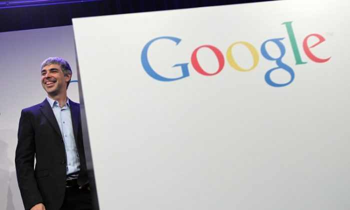 Google CEO Larry Page in front of a Google logo in New York City, May 21 2012. Google scored a comprehensive victory over Oracle in the patent part of the Android-Java lawsuit. (Getty Images)