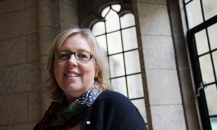 Green Party Leader Elizabeth May said she cannot understand why some MPs find it so hard to admit that China is run by an authoritarian regime. (Matthew Little/The Epoch Times)