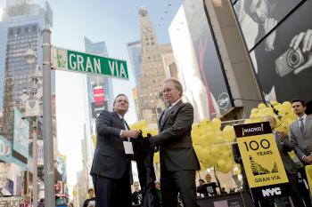 New York City Deputy Mayor Robert Steel (L) NYC & Company CEO George Fertitta unveiled a street sign in Times Square on Wednesday designating Broadway as 'Gran Via' in honor of Madrid's main thoroughfare. The event was to promote tourism between the two c (Henry Lam/The Epoch Times)