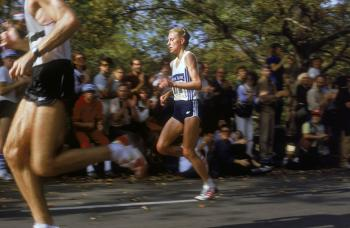 NINE TIME CHAMPION: Norwegian runner Grete Waitz competing in the New York Marathon, 28th October 1984. Waitz won the NYC marathon a record nine times. Waitz died of cancer on Tuesday. (David Cannon/Getty Images)
