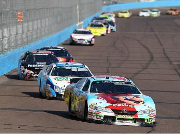 Denny Hamlin led for much of the first half of the race, but once Carl Edwards took over on lap 97, Hamlin's chances for victory evaporated. (Christian Petersen/Getty Images)
