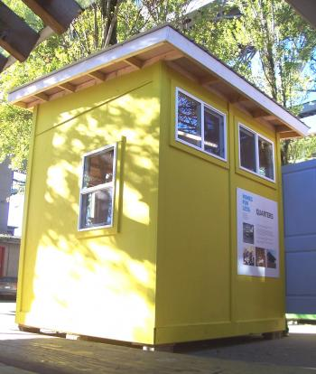 """One of four """"spare a square"""" prefabricated housing units, part Vancouver's smallest housing development, that were designed to provide short-term housing for the homeless.  (Ben Taylor/The Epoch Times)"""