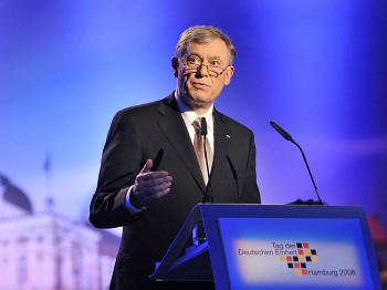 German President Horst Koehler gives a speech during festivities to celebrate the German Unification Day on October 3, 2008 in Hamburg. (Guido Bergmann/AFP/Getty Images)