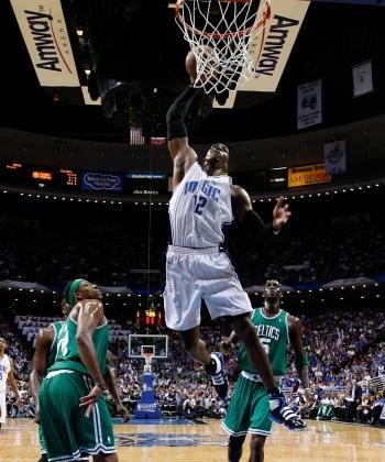 SUPER DUNK: Dwight Howard had another stellar performance in Game 5 on Wednesday. (Kevin C. Cox/Getty Images)