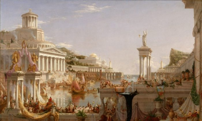 "Thomas Cole's (1801-1848) ""The Course of Empire: The Consummation of Empire"" is among the Hudson River School paintings that will go on display at the New York Historical Society beginning Friday, Feb. 10. (Courtesy of NY Historical Society)"