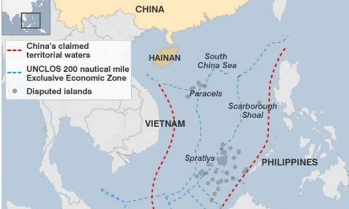 A map showing waters disputed by China in the South China Sea. (UNCLOS and the CIA)