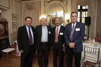 At the Indonesian Consulate, (L-R) Mr. Lucky Fathul A.H. Chief of Bank Indonesia, Warran Hochbaum, Wiwit Wirsatyo - Consul / Head of Chancery, NY and Wayne Forester, President Indonesian US Chamber of Commerce. (Courtesy of the Indonesian Consulate) ()