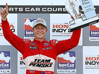 Ryan Briscoe celebrates after winning the IRL IndyCar Series The Honda Indy 200 at Mid-Ohio Sports.  (Darrell Ingham/Getty Images)