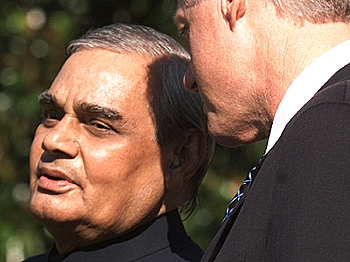 In this file photo Atal Behari Vajpayee chats with US President Bill Clinton at the White House in Washington DC in September 2000. (Mark Wilson/Newsmakers)