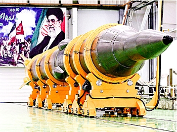 HIDDEN BOMBS: A picture shows the new medium-range surface to surface missile, named Sejil-2, at an undisclosed location in Iran prior to its test-firing on May 20, 2009. (AFP/Getty Images)