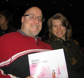 Mr. Jacobs smiles with a companion during intermission at the Divine Performing Arts 2009 World Tour at Toronto's John Bassett Theatre on Sunday.  (Yue Yun / The Epoch Times)