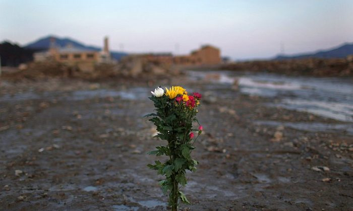 Flowers have been placed at the site where a home used to stand on March 11, 2012 in Rikuzentakata, Japan. Sunday, March 11, marked one year since the triple disaster struck Japan—and also sent shockwaves throughout the world. (Chris McGrath/Getty Images)