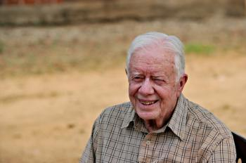 Jimmy Carter, the former US President, was reportedly hospitalized for an upset stomach. (Roberto Schmidt/AFP/Getty Images)