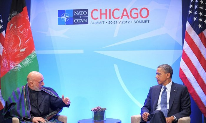 Afghan President Hamid Karzai speaks while meeting with U.S. President Barack Obama during the NATO Summit, May 20 at McCormick Place in Chicago. (Mandel Ngan/AFP/GettyImages)