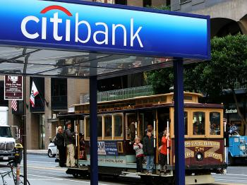 Citigroup reported a better than expected first quarter with a loss of 18 cents per share, beating analysts' forecasts of 34 cents a share.   (Justin Sullivan/Getty Images)