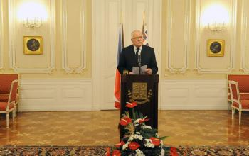 Czech President Vaclav Klaus reads a statement on Tuesday at Prague Castle in the capital city of the Czech Republic. (Michal Cizek/AFP/Getty Images)