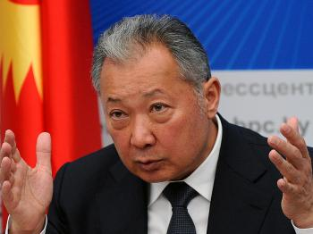 Ousted president of Kyrgyzstan Kurmanbek Bakiyev gestures during his press conference in Minsk on April 23. Bakiyev, who has taken refuge in Belarus, softened his defiance by admitting he would not be able to return to his country as head of state. (Viktor Drachev/AFP/Getty Images)