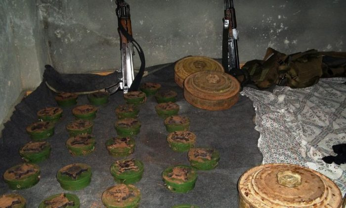 Anti-personnel landmines which where planted by the Syrian army in the village of Heet near the northern Lebanese border March 8. (-/AFP/Getty Images)