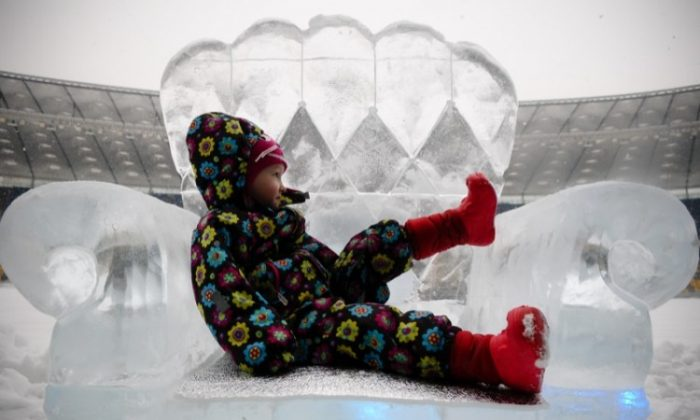 Ice Sculpture Park opened in Kyiv. (Vladimir Borodin/The Epoch Times)