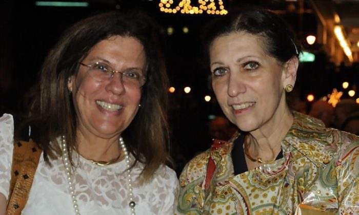 Judith Meyer (L) and Dr. Susan McDonald (R) attend Shen Yun Performing Arts at Philadelphia's Merriman Theater on May 8. (Lily Sun/The Epoch Times)