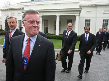 Kenneth D. Lewis, Chairman, CEO, and President of Bank of America other major bank CEOs leave the White House after a meeting with Pres. Obama, March 27, 2009. (Mark Wilson/Getty Images)