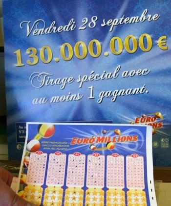 A man holds a Euromillions lottery ticket at a store in Brussels in this file photo from Sept. 28, 2007. Euromillions is a joint venture between Austria, Belgium, Britain, France, Ireland, Luxembourg, Portugal, Spain, and Switzerland. (Nina Francesca/AFP/Getty Images)
