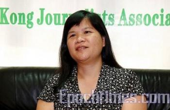 Mak Yin-ting, chair of HKJA, called on South China Media to apologize for firing journalist Daisy Chu. (The Epoch Times)