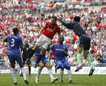 The traditional curtain-raiser to the English Premier League season, the Community Shield, was won by Chelsea in a penalty shoot-out over Manchester United. (Ian Kington/AFP/Getty Images)
