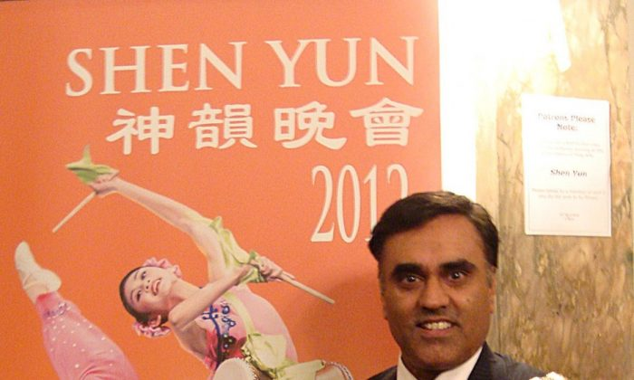 Councillor Amritpal Singh Mann, mayor of the London Borough of Hounslow, after attending Shen Yun Performing Arts second evening at the London Coliseum. (The Epoch Times)